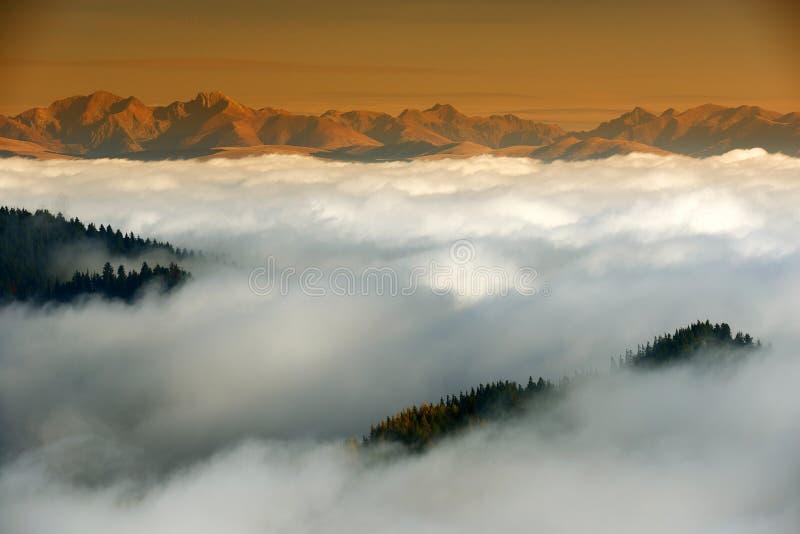 Berghav av moln royaltyfri foto