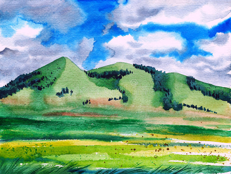 Bergheuvels met grasgebieden in de voorgrond royalty-vrije illustratie