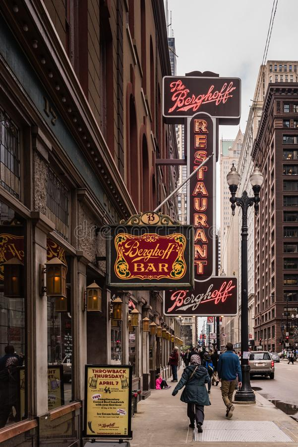 Berghoff Restaurant - Chicago Loop. Chicago, Illinois / USA / March 31, 2016: Located near the downtown Chicago Loop, the landmark Berghoff has been in business stock photo