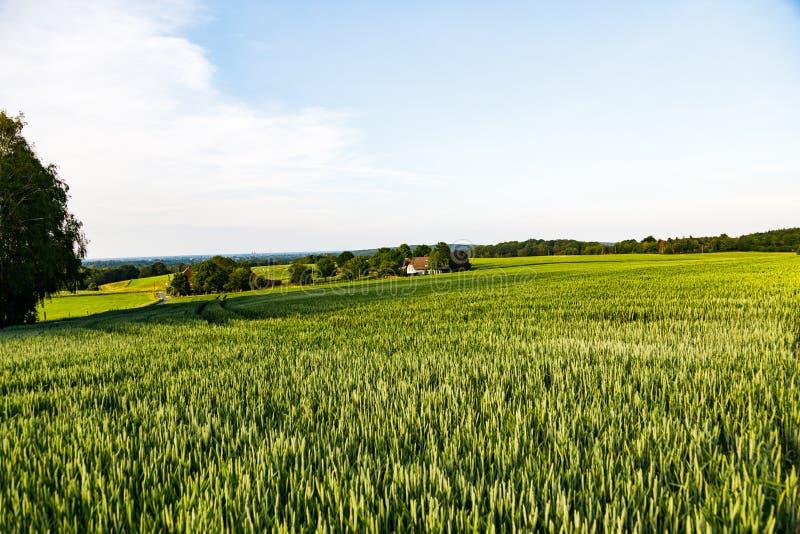 Bergig jordbruksmark i Tyskland med stadsområden i bakgrunden mot blått och en disig himmel caputured i sen afton royaltyfria bilder