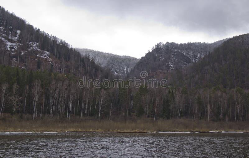 Bergig kust av floden i dimman arkivfoton