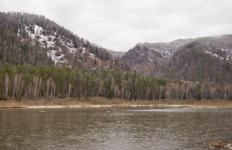 Bergig kust av floden i dimman arkivbilder