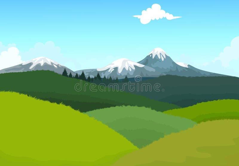 Bergigt berg för skönhet med landskapbakgrund vektor illustrationer