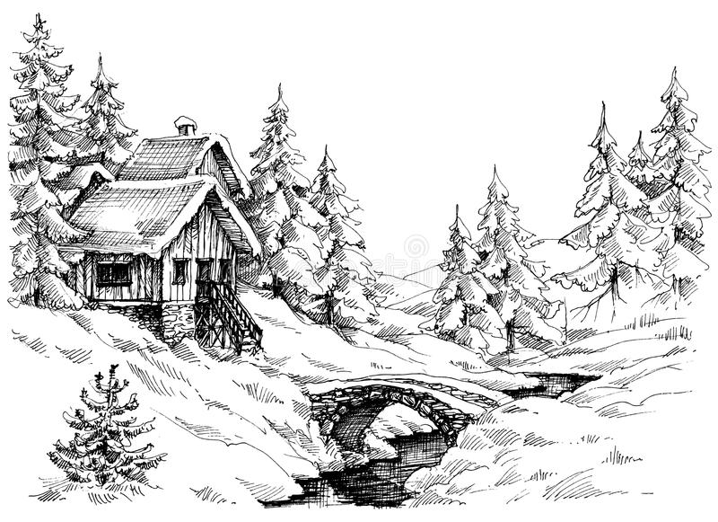 Bergkabinen i träna near floden royaltyfri illustrationer