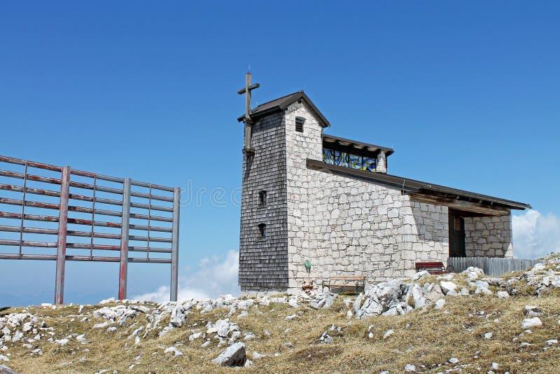 Bergkapelle,萨尔茨卡默古特,奥地利看法在Dachstein-Krippenstein登上的 库存照片