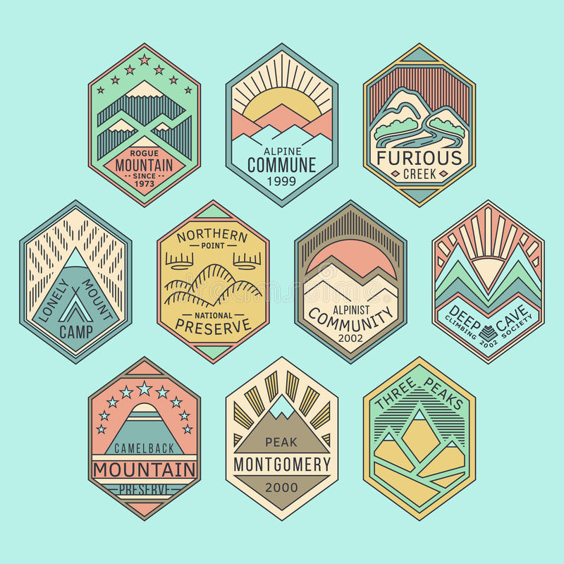 Bergkentekens lineaire 1color stock illustratie