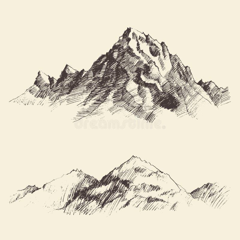 Bergkonturer som inristar vektorhandattraktion vektor illustrationer