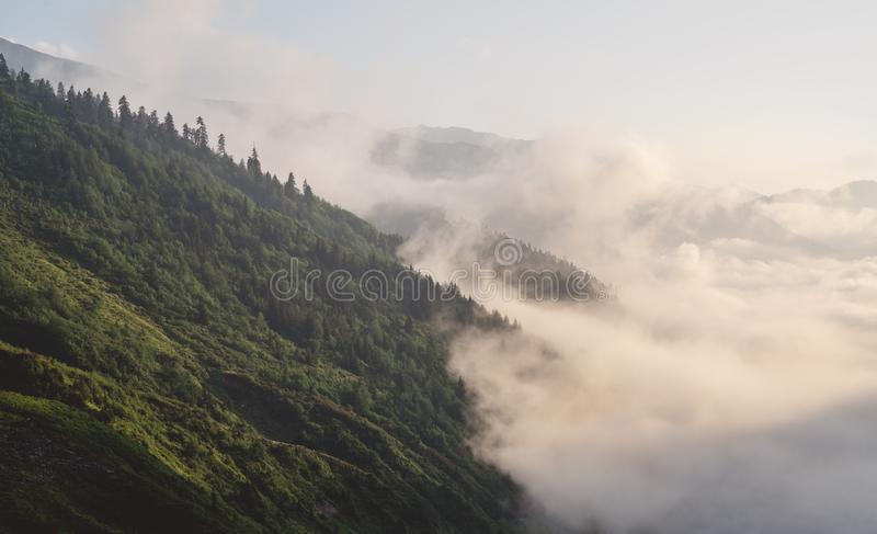 Bergkonturn ovanför molnen på soluppgång, beskådar uppifrån sikt av berg royaltyfria foton