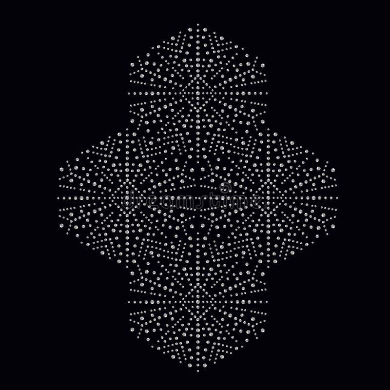 Bergkristal applique druk voor textielkleren in manierluxe royalty-vrije illustratie