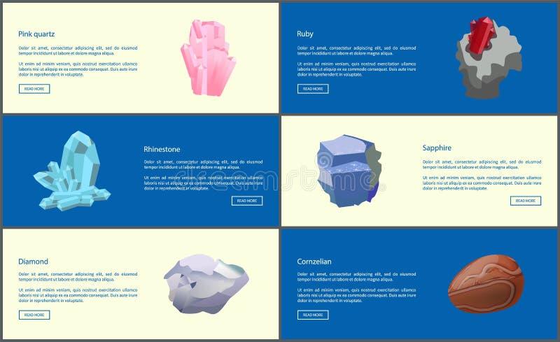 Bergkristallkarneolkvarts Ruby Diamond Sapphire vektor illustrationer