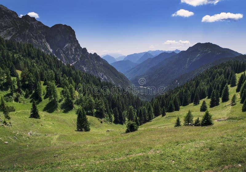 Berglandschaft in den Alpen nah an Ponte Arche, Italien lizenzfreie stockbilder