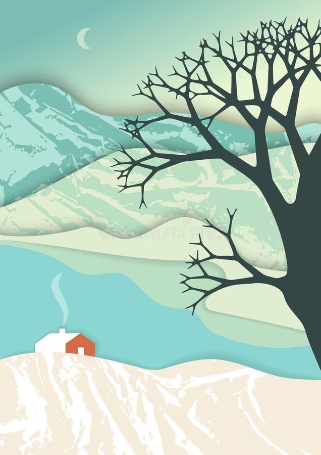 Berglandschaft in der Schichtkunstart Fest von Weihnachten Illusion der Tiefe in der romantischen Winterszene mit ländlichem Haus lizenzfreie abbildung