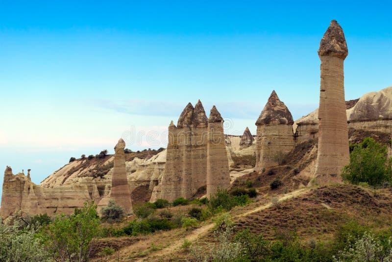 Berglandschaft, Goreme, Cappadocia, die Türkei lizenzfreie stockfotos