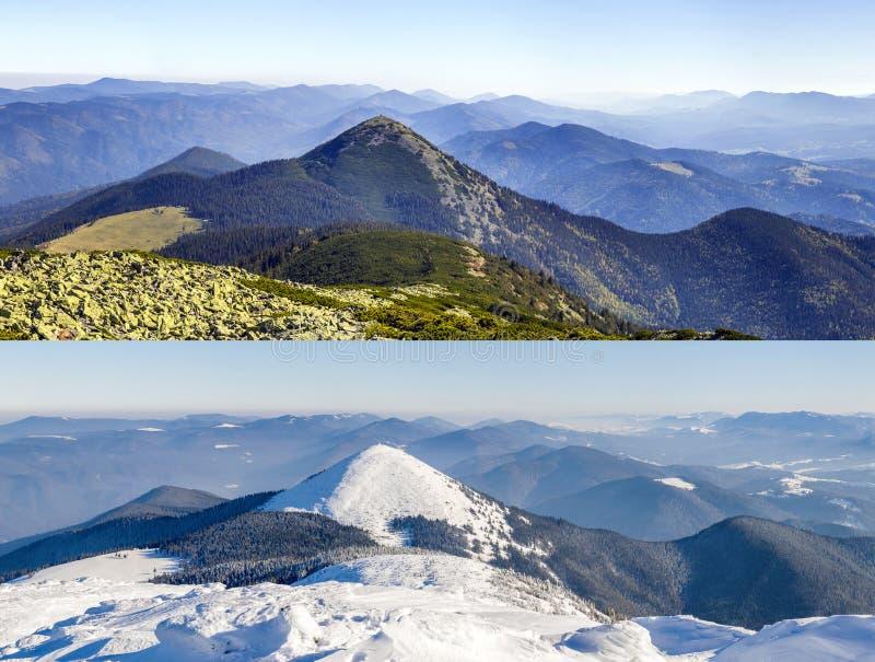 Berglandschaft im Winter und im Sommer Vergleich von Se zwei lizenzfreie stockfotografie