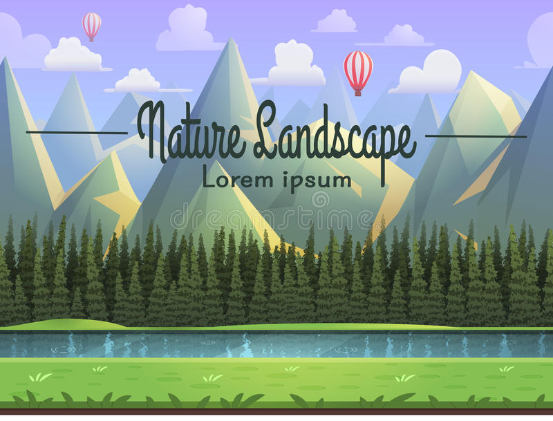 Berglandschaft mit Fluss, Gras und Koniferenwald Vector Illustration stock abbildung