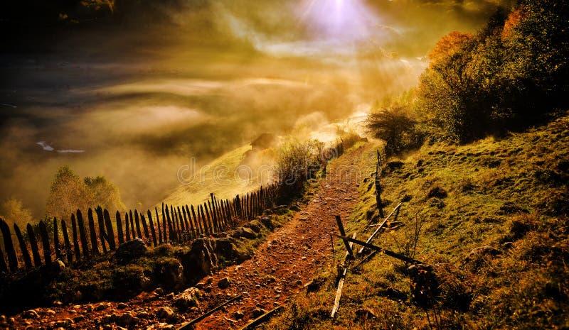 Berglandschaft mit Herbstmorgennebel bei Sonnenaufgang - Fundatur stockfotos