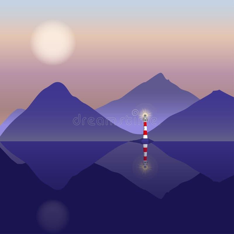 Download Berglandschaft Mit Leuchtturm Und See Stock Abbildung - Illustration von ufer, meerblick: 96929104