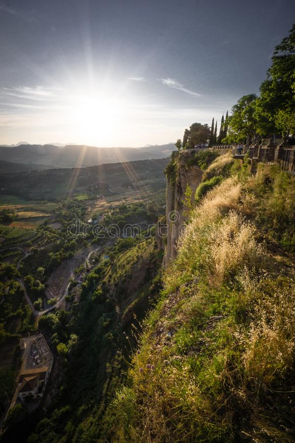Spain Andalusia Ronda mountain sunset mountain landscape in southern Spain Ronda stock images