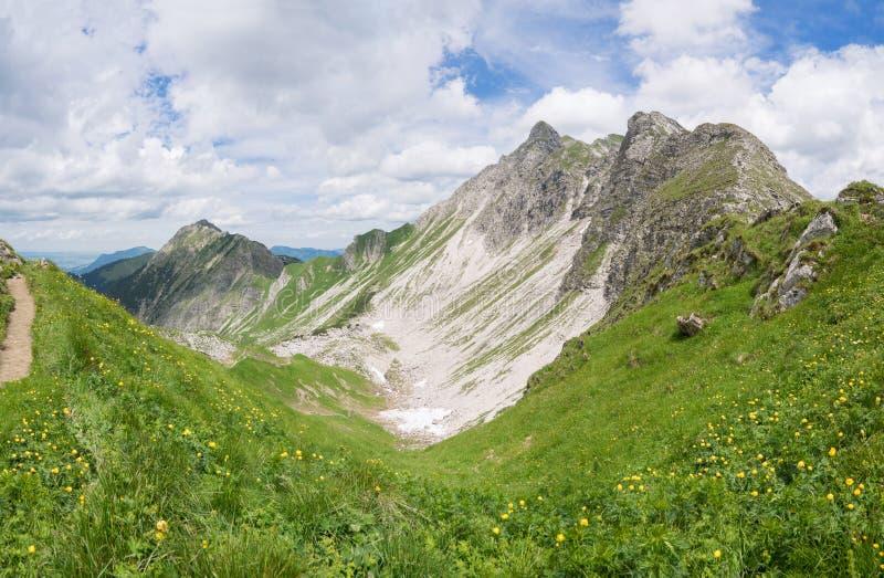 Berglandschap in de Allgau-Alpen stock afbeeldingen