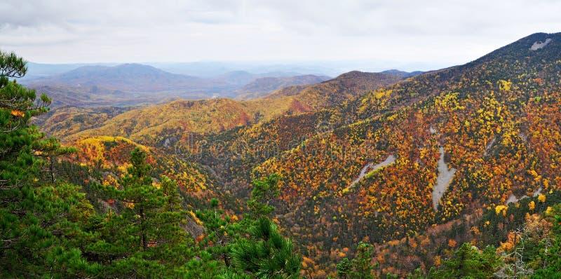 Berglandschap, de herfst, panorama royalty-vrije stock afbeeldingen