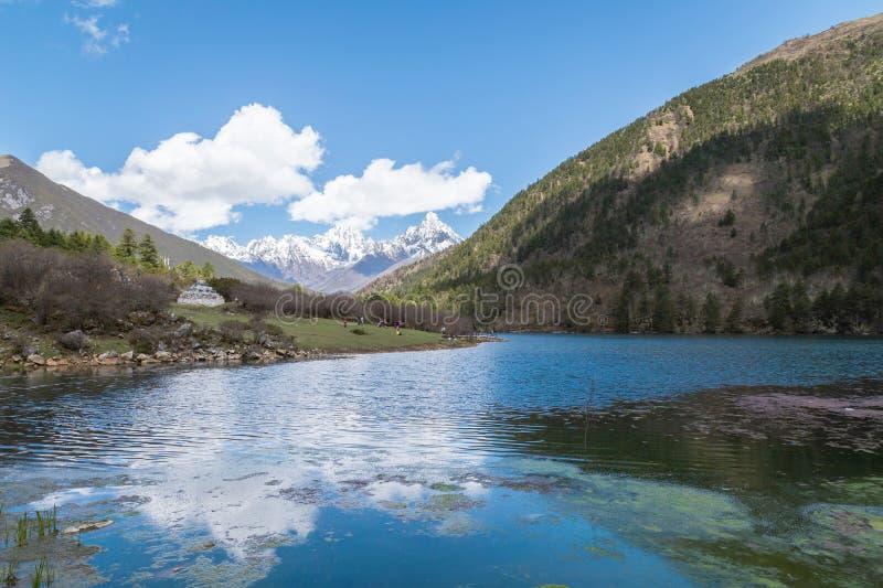 Berglandschap, meren en reservoirs stock afbeelding