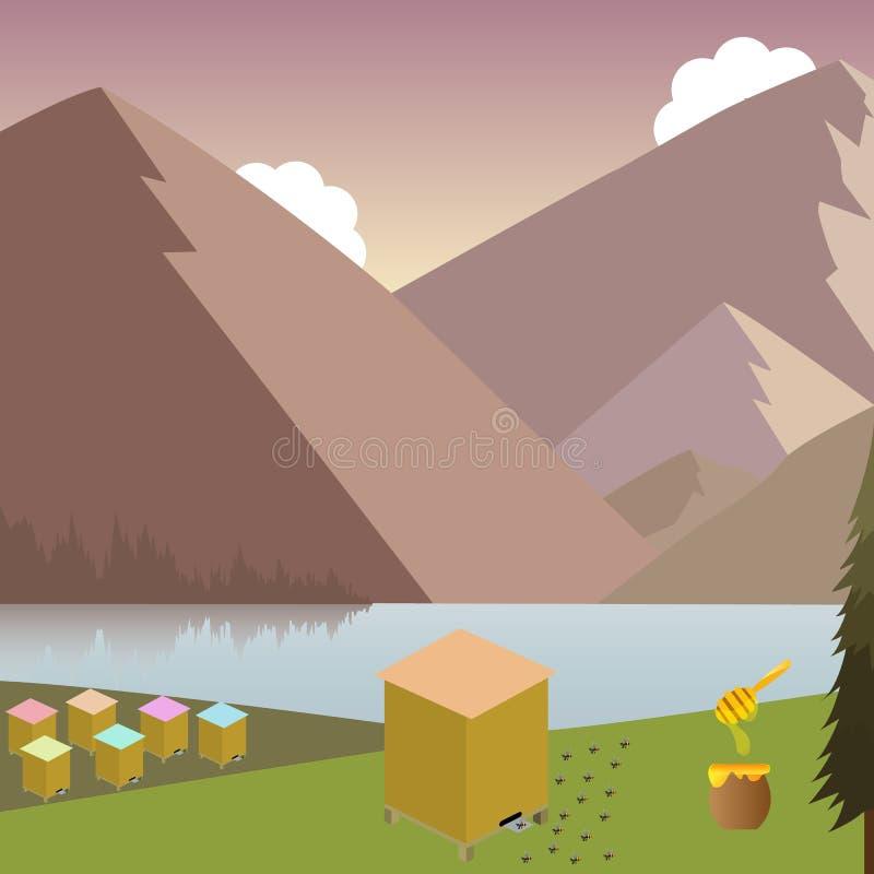 Berglandschap met bijenkorven vector illustratie
