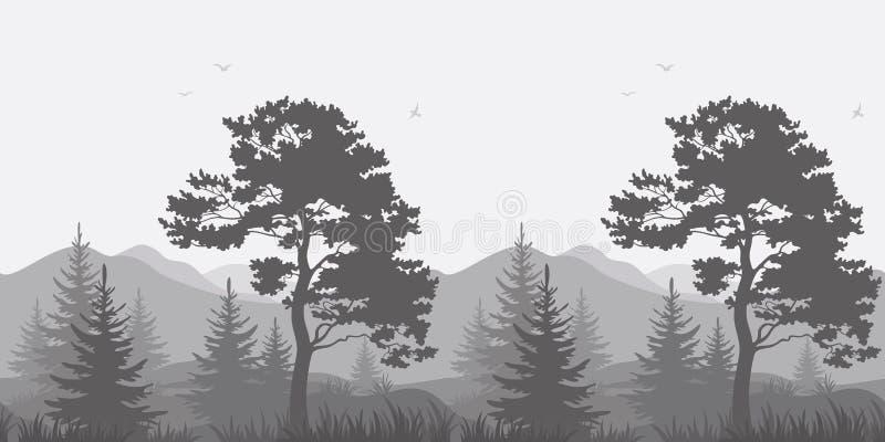 Berglandschap met bomen en vogels stock illustratie