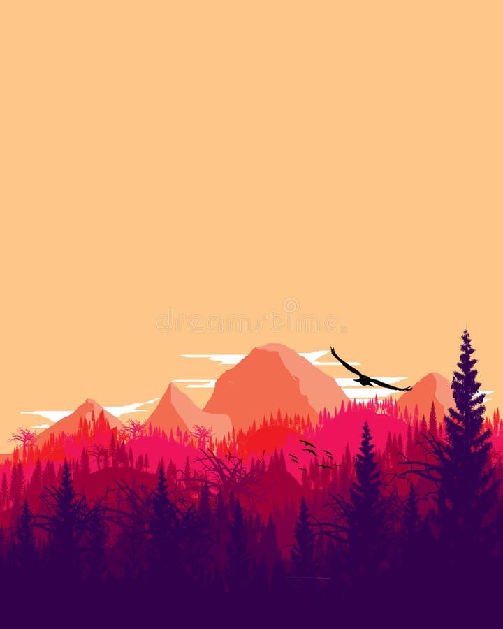 Berglandschap met Gradatie royalty-vrije stock afbeelding