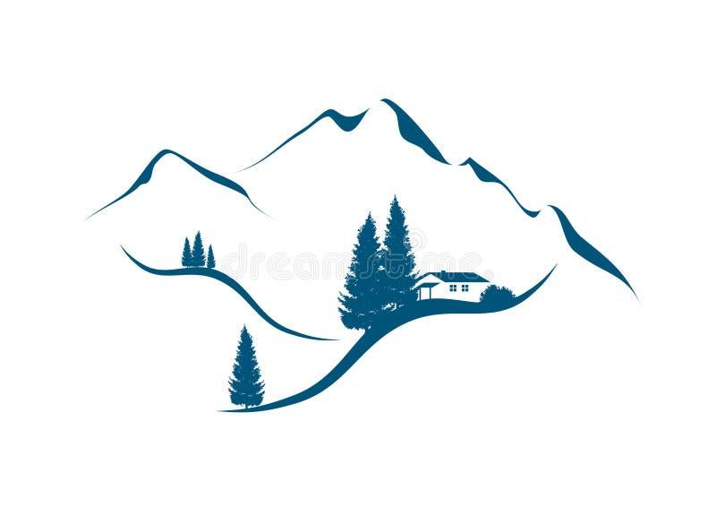 Berglandschap met hut en sparren vector illustratie