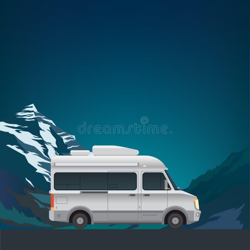 Berglandschap met kampeerautobestelwagen royalty-vrije illustratie