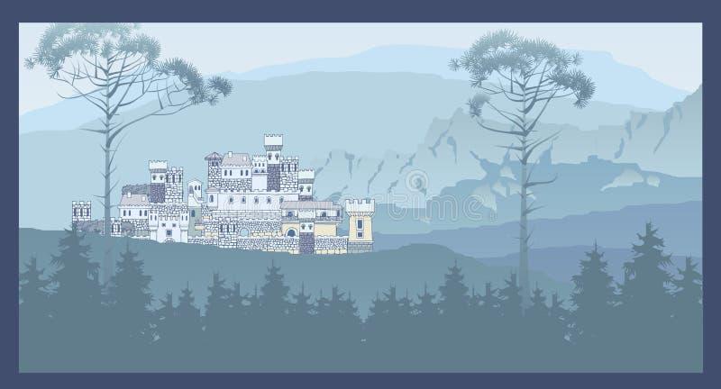 Berglandschap met oud middeleeuws kasteel op de heuvel pan vector illustratie