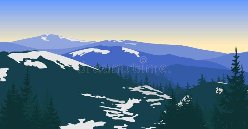 Berglandschap met sneeuw en silhouetten van bomen royalty-vrije illustratie
