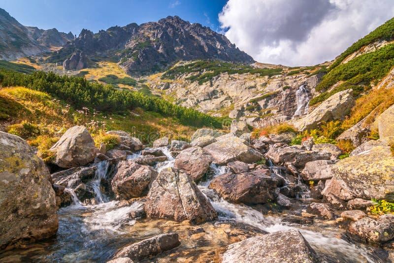 Berglandschap met waterval op een stroom royalty-vrije stock afbeelding