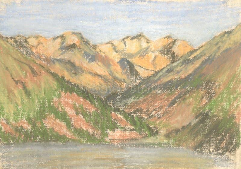 Berglandschap, pastelbergen op de horizon stock illustratie