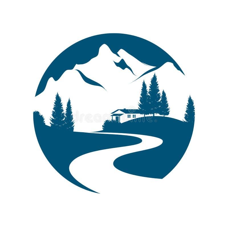 Berglandschap pictogramm stock illustratie