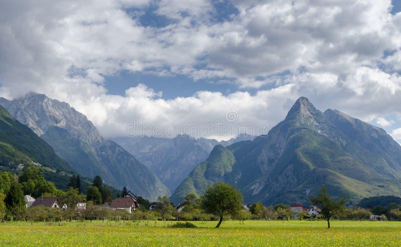 Berglandschap in Slovenië stock afbeeldingen