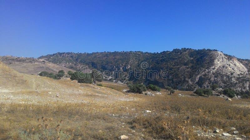 Berglandschap van het Eiland Cyprus stock afbeelding