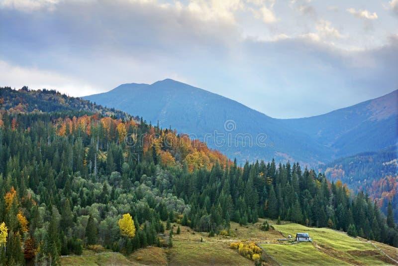 Berglandschap van mooie bewolkte dag in de Oekraïense Karpaten royalty-vrije stock foto