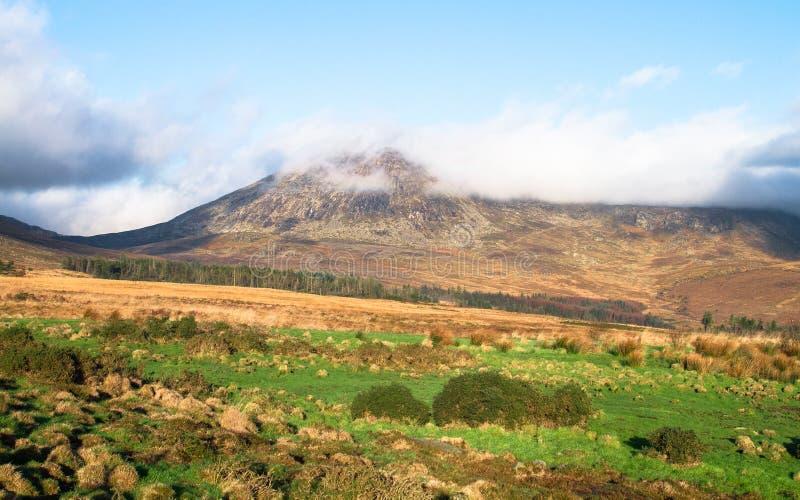 Berglandskap i de Mourne bergen som är nordliga - Irland arkivfoto