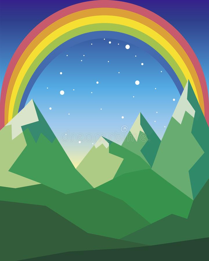 Berglandskap i gröna färger med regnbågen och stjärnor stock illustrationer