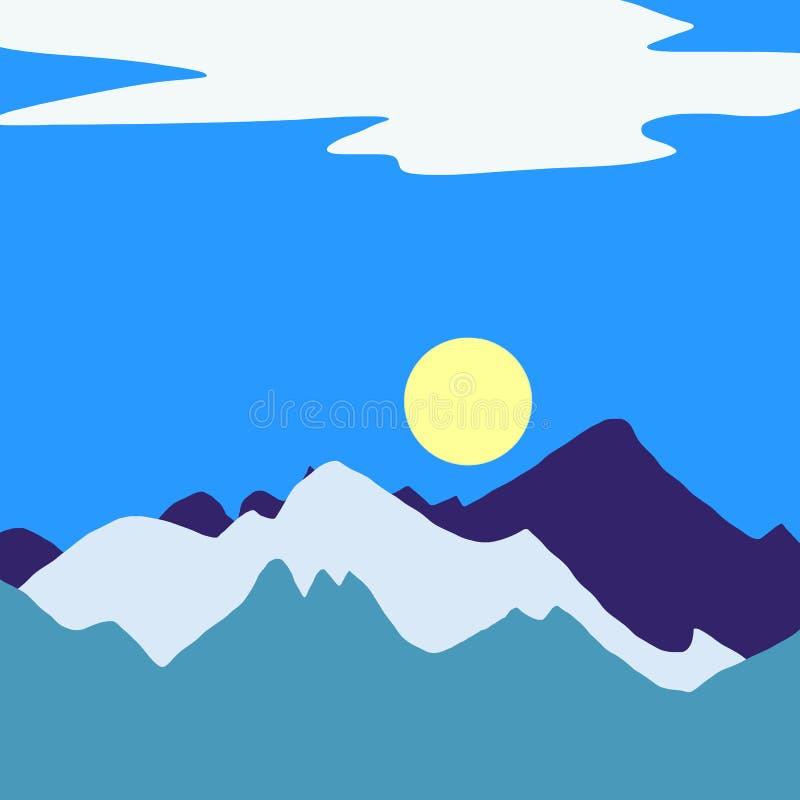 Berglandskap med den härliga sikten, gul sol, blå himmel stock illustrationer