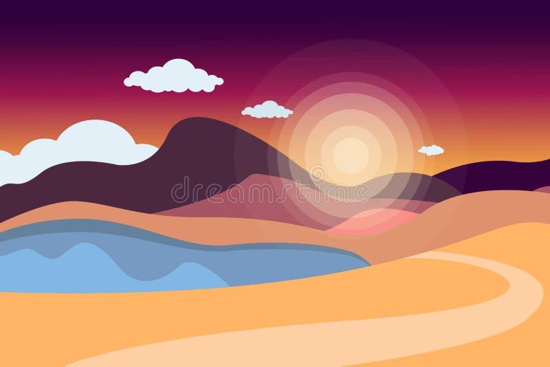 Berglandskap med en sjö och en väg clouds skyen den kulöra handillustrationen gjorde natursommar Sportar för utomhus- aktiviteter vektor illustrationer