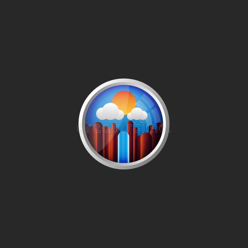 Berglandskap med en vattenfall på en bakgrund av blå himmel med molnsikt från fönstret av nivån den original- 3Den royaltyfri illustrationer