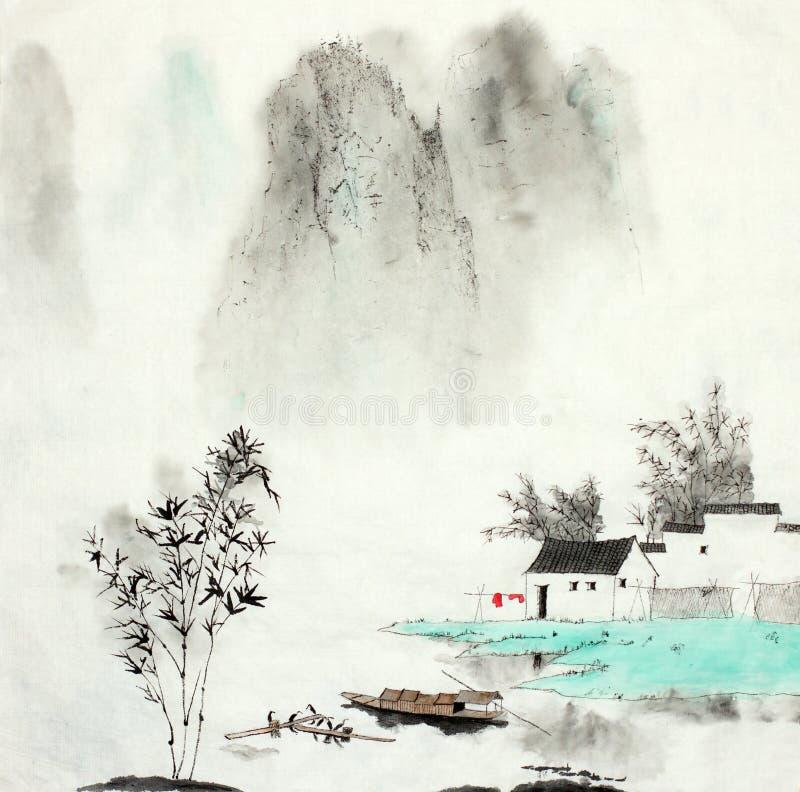 Berglandskap med ett fiska hus vid en sjö och ett fartyg royaltyfri illustrationer