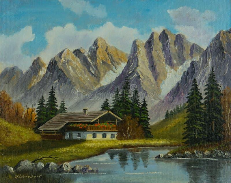 Berglandskap med huset på en bergström vektor illustrationer