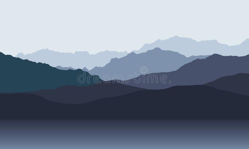 Berglandskap med kullar på kust av sjön eller havet, under grå himmel för morgon eller för afton royaltyfri illustrationer