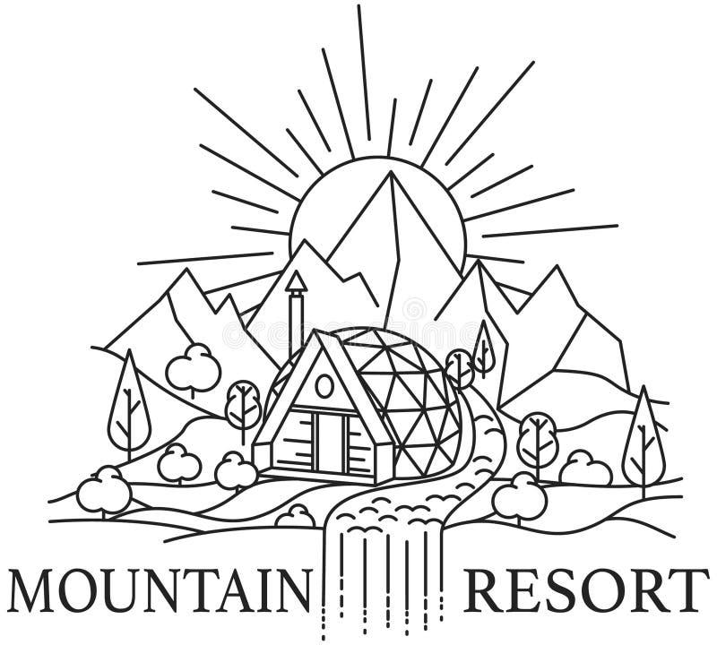Berglandskap med kupolhuset royaltyfri illustrationer