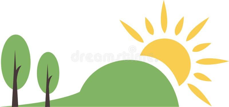 Berglandskap med solen vektor illustrationer