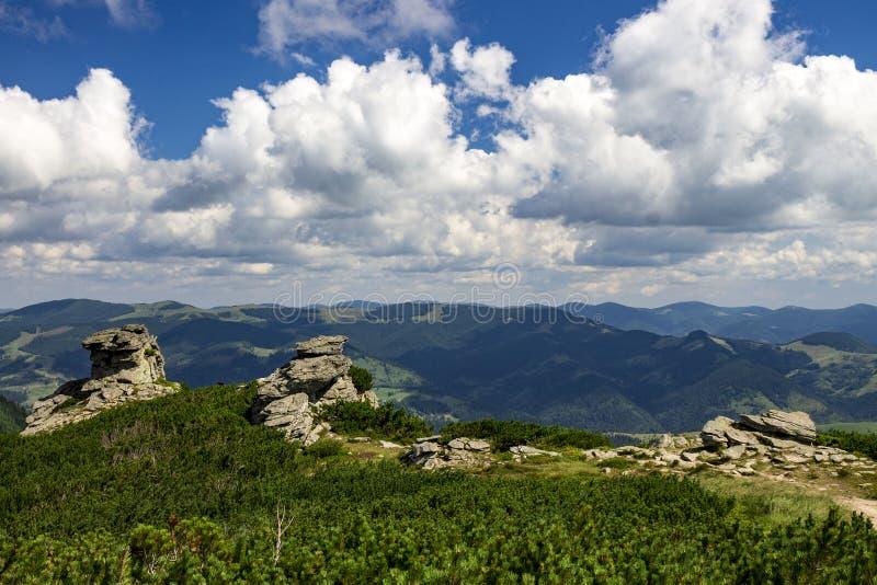 Berglandskapet med vaggar på solig dag för sommar royaltyfri foto
