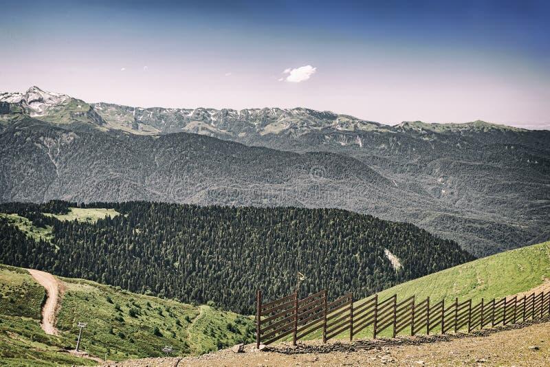 Berglandskapet och skidar lutningar i sommaren royaltyfria foton
